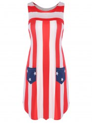 Bowknot Tail American Flag Patriotic Racerback Tank Dress