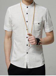 Stand Collar Pocket Short Sleeve Shirt
