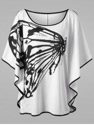 Plus Size Butterfly Pattern Slit Sleeve T-shirt - WHITE AND BLACK 2XL
