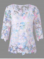 Round Collar Hollow Out Lace Blouse