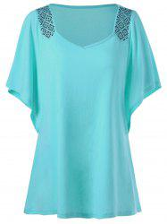 Plus Size Butterfly Sleeve Rhinestone Embellished Tee