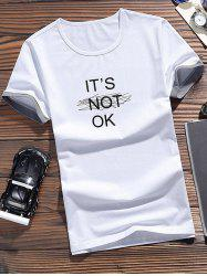 Letters Pattern Color Block Sleeves T-shirt