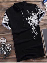 Short Sleeve Flower Print Half Zip Polo Shirt