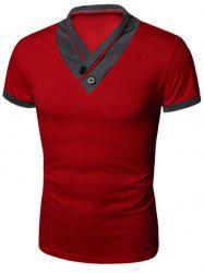 Buttons Embellished Shawl Collar Short Sleeve T-Shirt