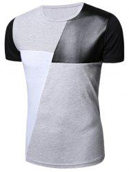 Openwork PU Leather Color Block Panel T-Shirt