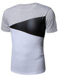 Short Sleeve Color Block PU Leather Panel T-Shirt