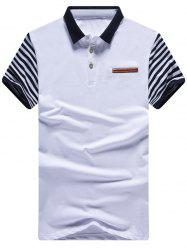 Striped Spliced PU Leather Design Polo Shirt