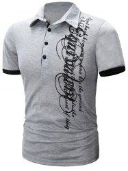 Graphic Print Panel Design Short Sleeve Polo T-Shirt