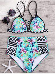 Zigzag Floral Bikini Swimsuit with High Waisted Bottom