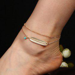 Artificial Turquoise Alloy Feather Chain Anklet
