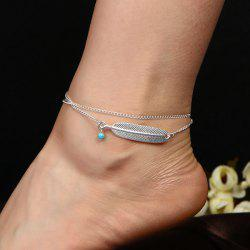 Artificial Turquoise Alloy Feather Chain Anklet - SILVER