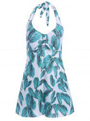 Leaf Print Halter Plus Size Swimsuit