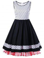 Polka Dot Tulle Hem Sleeveless 50s Dress