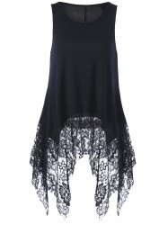 Lace Trim Sleeveless Handkerchief Blouse - BLACK