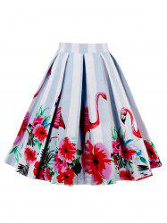 Animal Floral Print High Waisted Skirt - RED