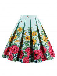 Bee Floral High Waisted A Line Skirt - GREEN