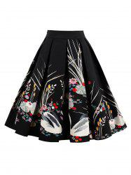 Swan Print High Waist Pleated Dress - BLACK