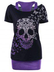 Skull Butterfly T-shirt with Tank Top - BLACK AND PURPLE XL