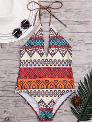 Halter Low Back One-Piece African Swimsuit