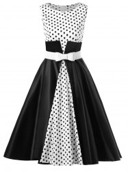 Polka Dot Tea Length Retro Dress with Belt