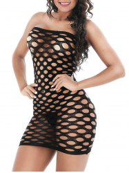 Strapless Openwork Bodycon Lingerie Dress