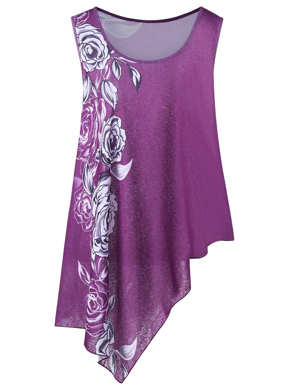 Plus Size Floral Asymmetric Tank TopWOMEN<br><br>Size: 5XL; Color: PURPLE; Material: Polyester; Shirt Length: Long; Sleeve Length: Sleeveless; Collar: Scoop Neck; Style: Casual; Season: Summer; Pattern Type: Floral; Weight: 0.2600kg; Package Contents: 1 x Tank Top;