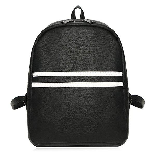 Buy PU Leather Contrast Stripe Backpack