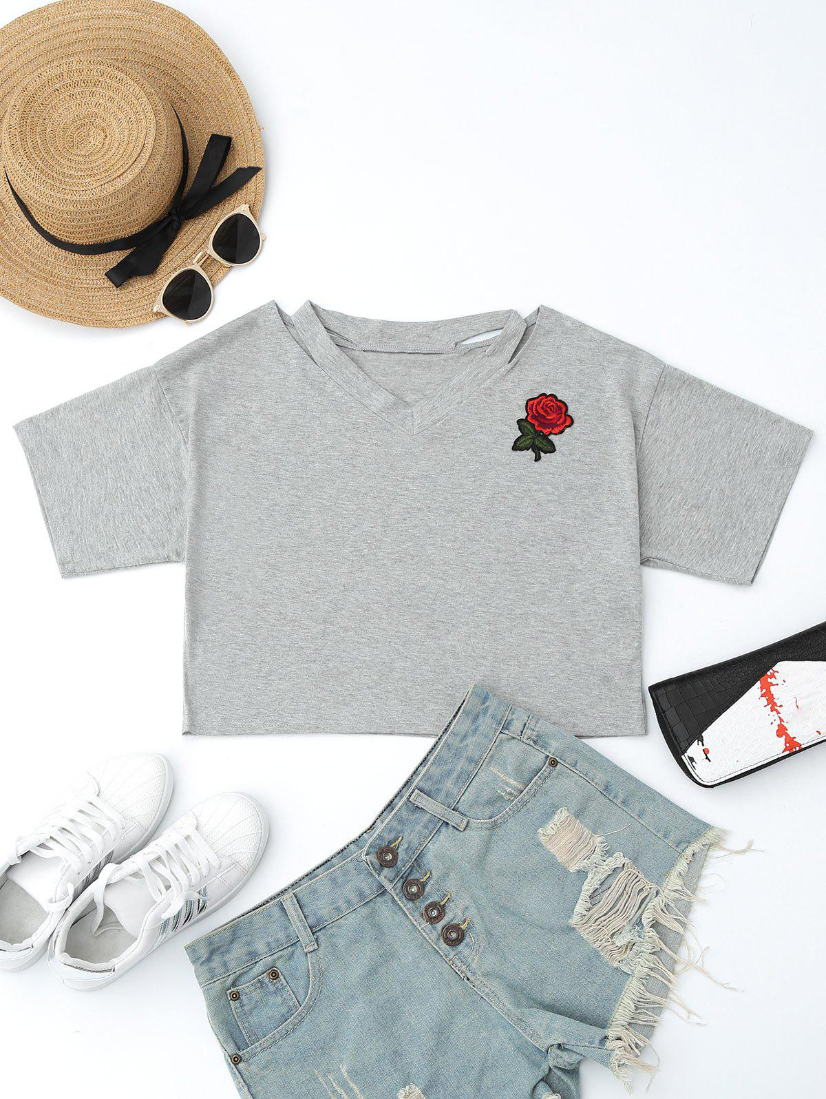 Cheap Patched Cut Out Short Top