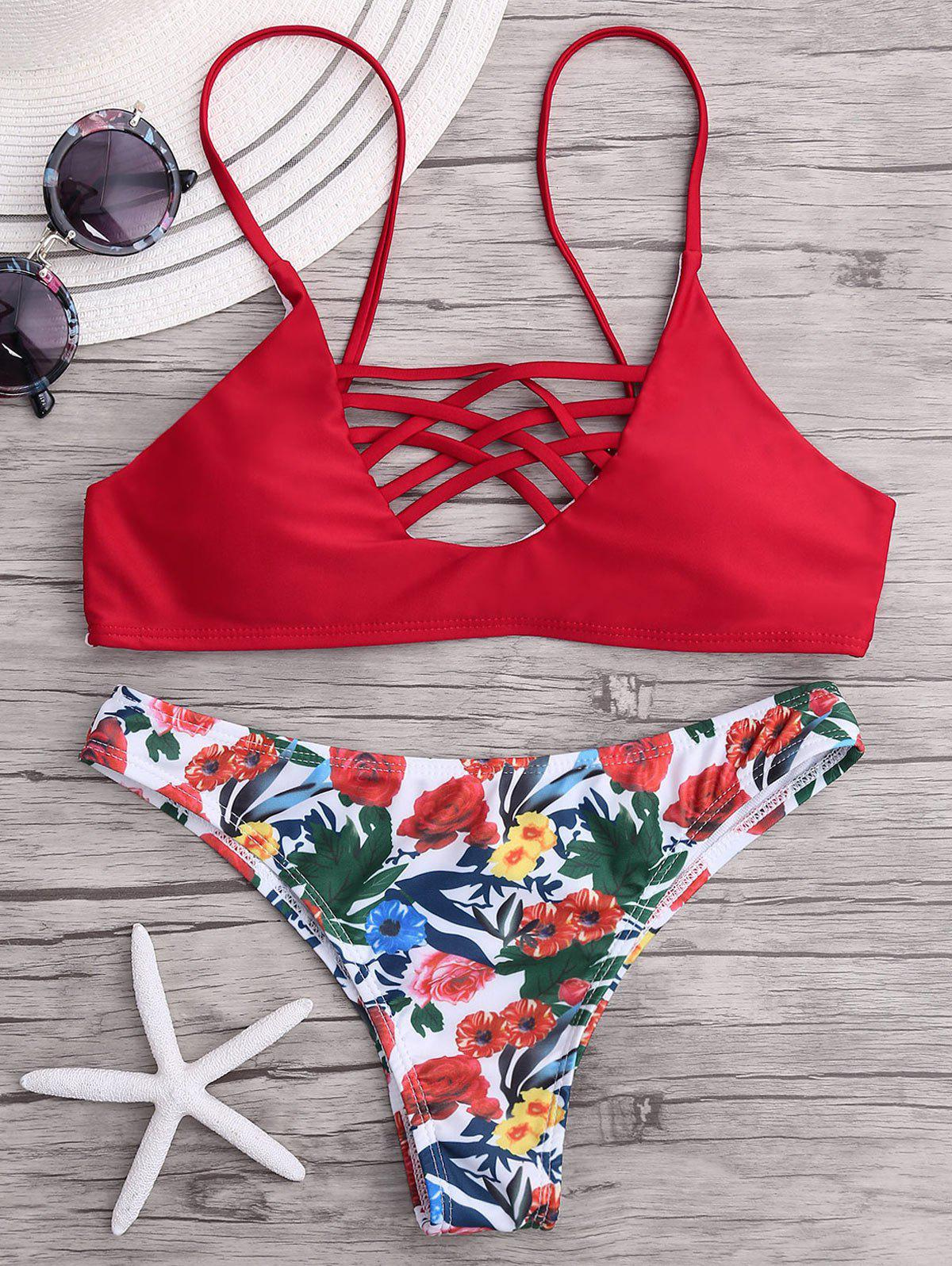 Cross Strappy Floral Bikini SetWOMEN<br><br>Size: S; Color: RED; Swimwear Type: Bikini; Gender: For Women; Material: Polyester,Spandex; Bra Style: Padded; Support Type: Wire Free; Neckline: Spaghetti Straps; Pattern Type: Floral; Embellishment: Strappy; Waist: Natural; Elasticity: Micro-elastic; Weight: 0.2000kg; Package Contents: 1 x Bra  1 x Panties;