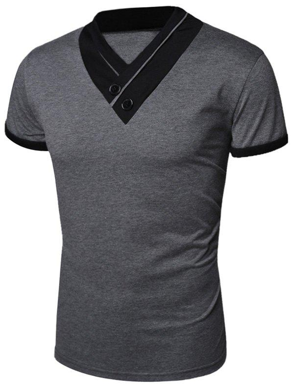 Latest Buttons Embellished Shawl Collar Short Sleeve T-Shirt