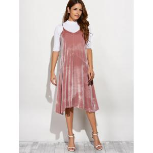 Cami Velvet Loose Midi Dress - PINK ONE SIZE