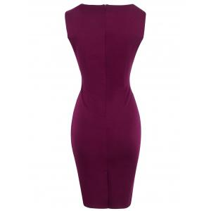 Metal Ruffled Cut Out Bodycon Sleeveless Dress - WINE RED L