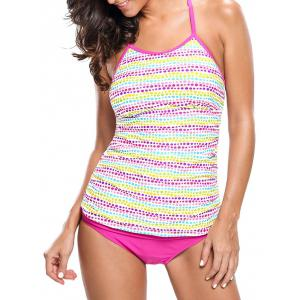 Braided Back Dotted Tankini Set - Colormix - 2xl