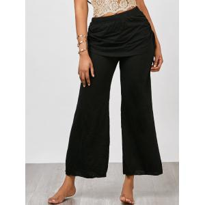Skirted Wide Leg Pants - Black - Xl