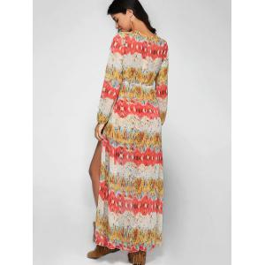 Plunging Neck Long Sleeve Printed Maxi Romper -