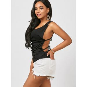 Ruched Back Lace Tank Top - BLACK ONE SIZE
