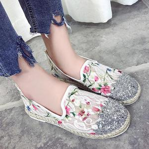 Sequins Floral Print Flat Shoes - White - 37