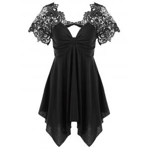 Empire Waist Lace Trim Handkerchief Peplum T-Shirt - Black - M