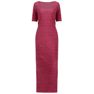 Scoop Neck Side Slit Jersey Maxi Dress - WINE RED L