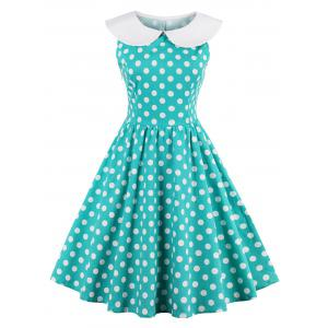High Waisted Polka Dot Sleeveless 50s Dress