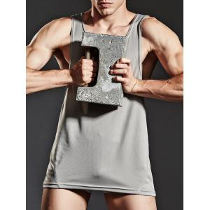 Suture Breathable Sports Tank Top - GRAY L