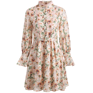 Stand Neck Floral Print Fit and Flare Dress -
