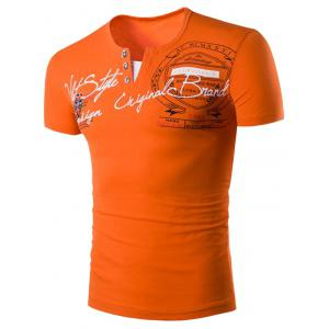 Panel Design V Neck Graphic Print Short Sleeve T-Shirt - Orange - L