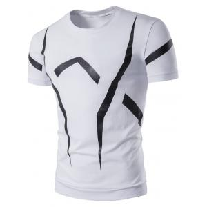 Short Sleeve Geometric Linellae Print T-Shirt - White - 2xl