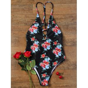 One Piece Plunging Neckline Backless Floral Swimwear