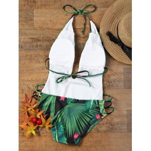 Tropical Print Low Cut Halter Strappy Swimsuit - COLORMIX L