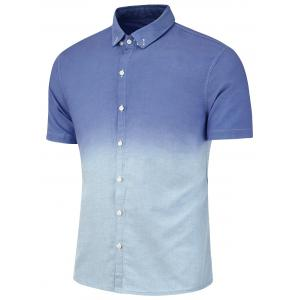 Dip Dye Short Sleeve Button Down Shirt