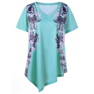 Asymmetrical Floral Plus Size Tunic - Light Green - 2xl