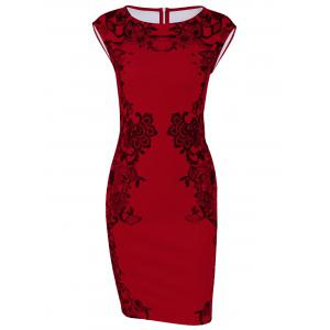 Cap Sleeve Floral Sheath Dress - Red - M