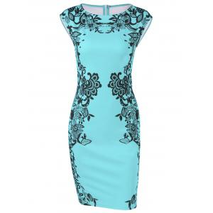 Cap Sleeve Floral Sheath Dress
